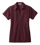 Maroon Port Authority Ladies Vertical Pique Polo as seen from the front