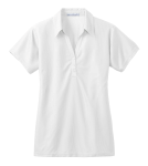 White Port Authority Ladies Vertical Pique Polo as seen from the front