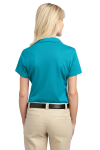 Deep Teal Blue Port Authority Ladies Tech Pique Polo as seen from the back