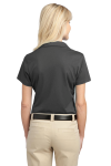 Grey Smoke Port Authority Ladies Tech Pique Polo as seen from the back