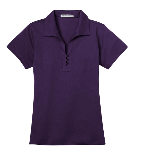 Regal Purple Port Authority Ladies Tech Pique Polo as seen from the front