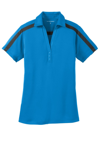Brilliantbl Bk Port Authority Ladies Silk Touch Performance Colorblock Stripe Polo as seen from the front