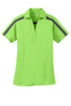 Lime Steel Gy Port Authority Ladies Silk Touch Performance Colorblock Stripe Polo as seen from the front