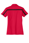 Red Black Port Authority Ladies Silk Touch Performance Colorblock Stripe Polo as seen from the back