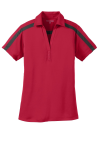 Red Black Port Authority Ladies Silk Touch Performance Colorblock Stripe Polo as seen from the front