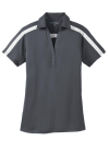 Steel Grey Wh Port Authority Ladies Silk Touch Performance Colorblock Stripe Polo as seen from the front