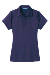 Purple Db Navy Port Authority Ladies Fine Stripe Performance Polo as seen from the front