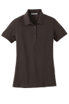 Choc Brown Port Authority Ladies 5-in-1 Performance Pique Polo as seen from the front