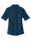 Regatta Blue Port Authority Ladies Ultra Stretch Polo as seen from the back
