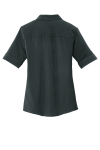 Slate Grey Port Authority Ladies Ultra Stretch Polo as seen from the back