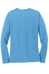 Aquatic Blue Port & Company Ladies Long Sleeve 5.4-oz 100% Cotton T-Shirt as seen from the back