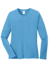 Aquatic Blue Port & Company Ladies Long Sleeve 5.4-oz 100% Cotton T-Shirt as seen from the front
