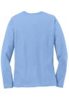 Light Blue Port & Company Ladies Long Sleeve 5.4-oz 100% Cotton T-Shirt as seen from the back