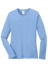Light Blue Port & Company Ladies Long Sleeve 5.4-oz 100% Cotton T-Shirt as seen from the front