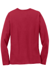 Red Port & Company Ladies Long Sleeve 5.4-oz 100% Cotton T-Shirt as seen from the back