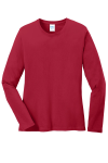 Red Port & Company Ladies Long Sleeve 5.4-oz 100% Cotton T-Shirt as seen from the front
