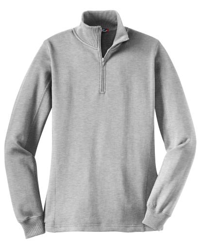 Athletic Hthr Sport-Tek Ladies 1/4-Zip Sweatshirt as seen from the front