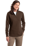 Brown Sport-Tek Ladies 1/4-Zip Sweatshirt as seen from the front