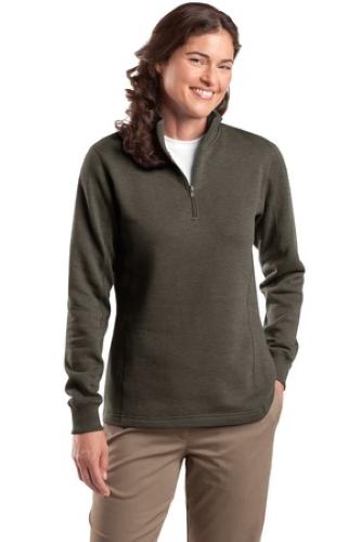 Charcoal Hthr Sport-Tek Ladies 1/4-Zip Sweatshirt as seen from the front