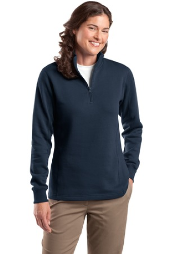 Navy Sport-Tek Ladies 1/4-Zip Sweatshirt as seen from the front