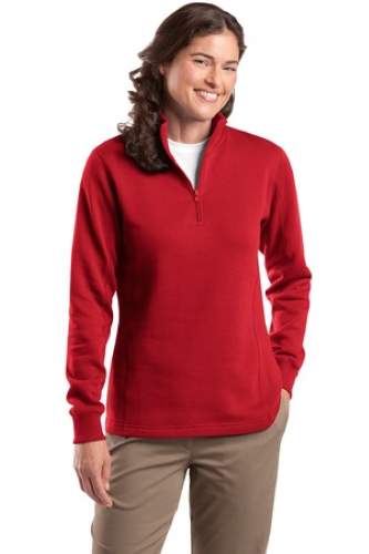 Red Sport-Tek Ladies 1/4-Zip Sweatshirt as seen from the front