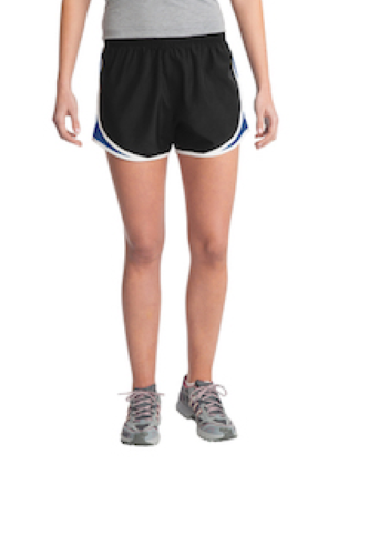 Blk Trroyl Wht Sport-Tek Ladies Cadence Short as seen from the front