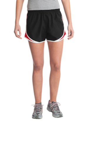 Blk Tr Red Wht Sport-Tek Ladies Cadence Short as seen from the front