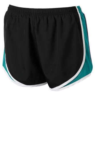 Blk Tropbl Wht Sport-Tek Ladies Cadence Short as seen from the front