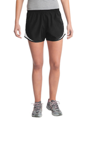 Blk Wht Blk Sport-Tek Ladies Cadence Short as seen from the front