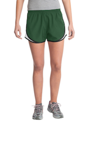Forgrn Wht Blk Sport-Tek Ladies Cadence Short as seen from the front