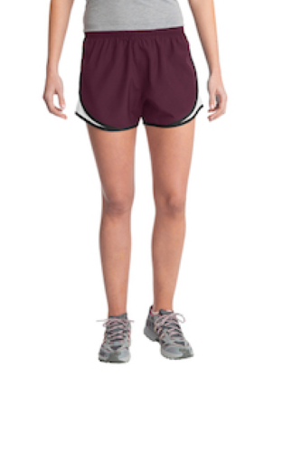 Maroon Wht Blk Sport-Tek Ladies Cadence Short as seen from the front