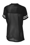 Black White Sport-Tek Ladies PosiCharge Replica Jersey as seen from the back