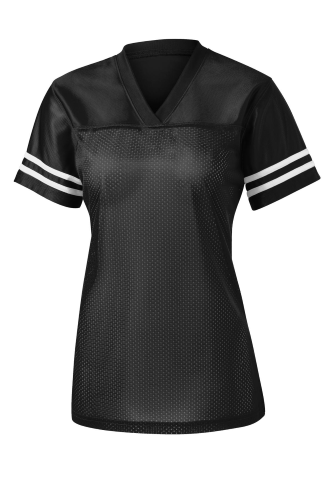 Black White Sport-Tek Ladies PosiCharge Replica Jersey as seen from the front