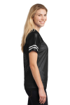 Black White Sport-Tek Ladies PosiCharge Replica Jersey as seen from the sleeveleft