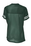 Forest Grn Wht Sport-Tek Ladies PosiCharge Replica Jersey as seen from the back