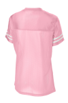 Lt Pink White Sport-Tek Ladies PosiCharge Replica Jersey as seen from the back