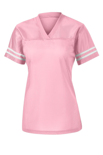 Lt Pink White Sport-Tek Ladies PosiCharge Replica Jersey as seen from the front
