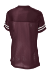 Maroon White Sport-Tek Ladies PosiCharge Replica Jersey as seen from the back