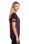Maroon White Sport-Tek Ladies PosiCharge Replica Jersey as seen from the sleeveleft
