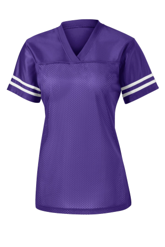 Purple White Sport-Tek Ladies PosiCharge Replica Jersey as seen from the front