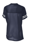 Tr Navy White Sport-Tek Ladies PosiCharge Replica Jersey as seen from the back