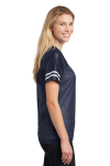 Tr Navy White Sport-Tek Ladies PosiCharge Replica Jersey as seen from the sleeveleft