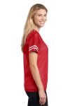Tr Red White Sport-Tek Ladies PosiCharge Replica Jersey as seen from the sleeveleft