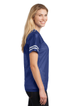 Tr Royal White Sport-Tek Ladies PosiCharge Replica Jersey as seen from the sleeveleft