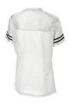 White Black Sport-Tek Ladies PosiCharge Replica Jersey as seen from the back