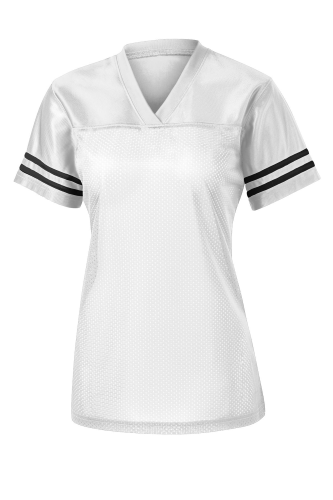 White Black Sport-Tek Ladies PosiCharge Replica Jersey as seen from the front