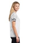 White Black Sport-Tek Ladies PosiCharge Replica Jersey as seen from the sleeveleft