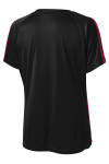 Black Tr Red Sport-Tek Ladies Colorblock Competitor Tee as seen from the back