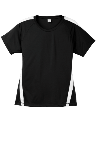 Black White Sport-Tek Ladies Colorblock Competitor Tee as seen from the front