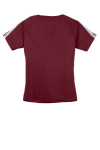 Maroon Silver Sport-Tek Ladies Colorblock Competitor Tee as seen from the back